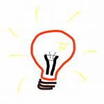 hand-drawn sketch of a light bulb